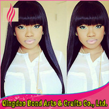 Top grade brazilian full lace human hair wigs with bangs straight front lace wigs glueless full lace wigs 130%density
