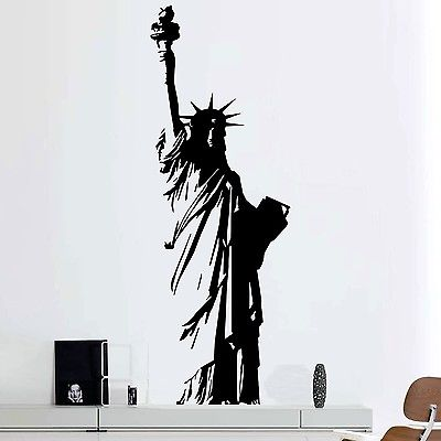 Large Size Vinyl Wall Decal New York Statue of Liberty, USA Freedom Art Decor Home Sticker Living Room Bedroom E551