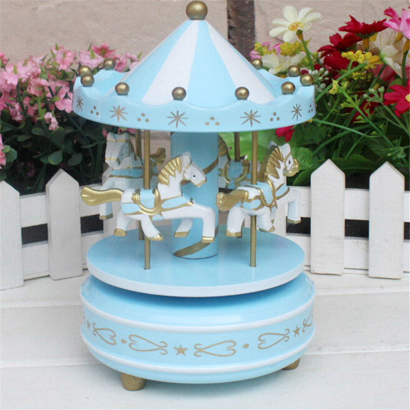 Romantic Creative Diy Sincere Feeling Birthday Wood Craft Gift Carousel Music Box Cute Children Toy Whirligig Home Decoration