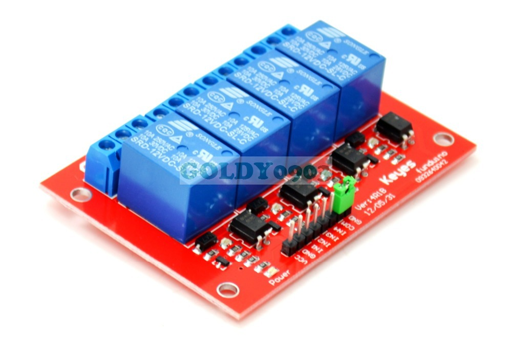 12V 4-Channel Relay Module For PIC AVR DSP ARM