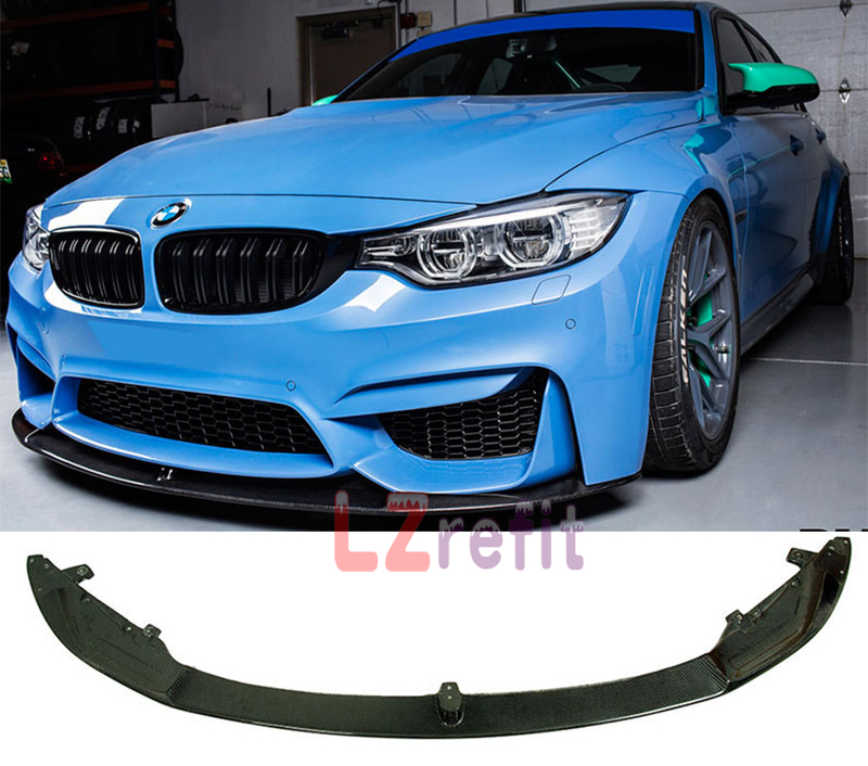 M P Stye Real Carbon Fiber Front Lip Spoiler For F80 F82 F83 M3 M4 Bumper 2014UP