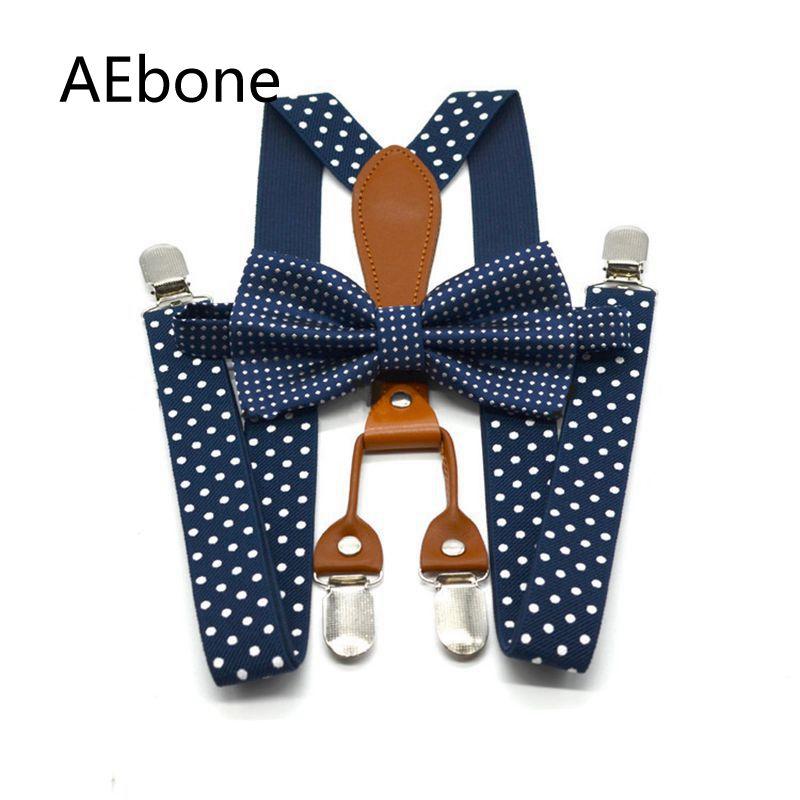 AEbone Navy Bow Tie Suspenders For Men Polka Dot Trousers Strap Red Bowtie Braces Women Suspenders With 4 Clip 110cm Sus30