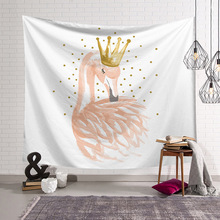Flamingo With Crown Wall Tapestry Animals Fabric Home Textile Beach Carpet On The Wall Decor