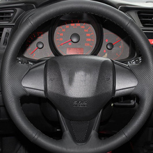 цена Free Shipping High Quality cowhide Top Layer Leather handmade Sewing Steering wheel covers protect For Honda Fit/Jazz в интернет-магазинах