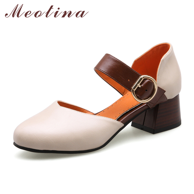 59d03645f438f3 Meotina Women Shoes High Heels Party Shoes Plus Size 33-46 Two Piece mary  jane Shoes Beige Casual Lady Pumps Chaussures femme