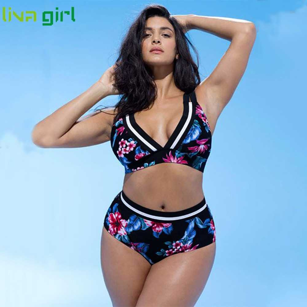 Liva girl Bikinis Sexy Plus size Two Pieces Floral Print Push-Up Swimsuit summer Women  Monokini Set Beach Wear Bathing Suit  09