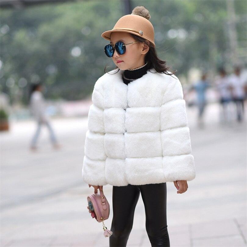 2018 New Winter Girl Rex Rabbit Faux Fur Fleece Coat Pageant Warm Jacket Xmas Snowsuit 3-8 Years old Baby Solid Color Coat sherpa fleece faux suede coat