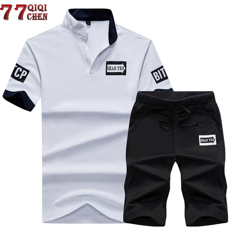 New 2020 Summer Two Piece Set Men Short Sleeve T Shirt Cropped Top+Shorts Men Sportwear Sets Tracksuit Outwear Men Plus Size 4XL