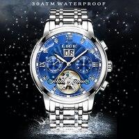 LIGE Mens Watches Top Brand Luxury Automatic Mechanical Watch Stainless Steel Waterproof Clock Business Diamond Mechanical Watch