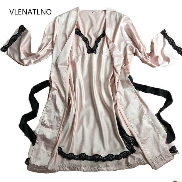 2016 Frauen Sexy Bademantel Weibliche Robe Seide Spaghettibügel Spitze Sleepwear Twinset Nightgown Set Lounge Nachthemd BüGeln Nicht