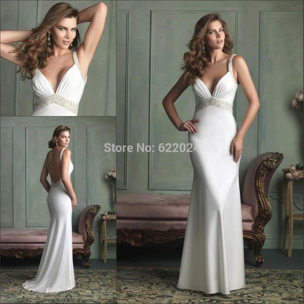 2015 Classic Sleek Beach Beading Straps Dramatic Back Wedding Dress V Neck Sleeveless Sexy Backless Satin Bridal Dresses Hh453 Dress Oriental Dress Soldierdress British Aliexpress