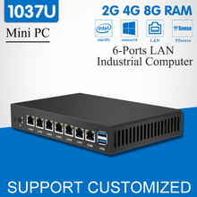 Mini PC Dual Core 6 Ethernet LAN Celeron 1037U pfSense Router Firewall Mini Deaktop Computer Windows 10 HD Graphics VGA 6-RJ45