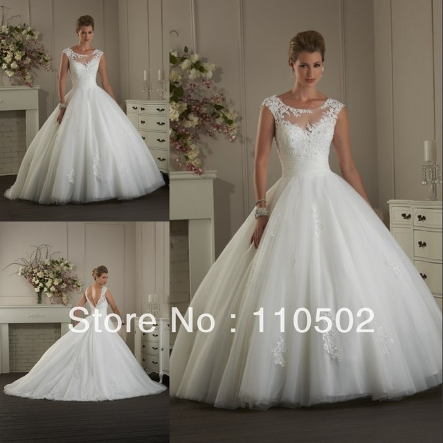Free shipping cost elegant appliqued cap sleeve ball gown puffy ...