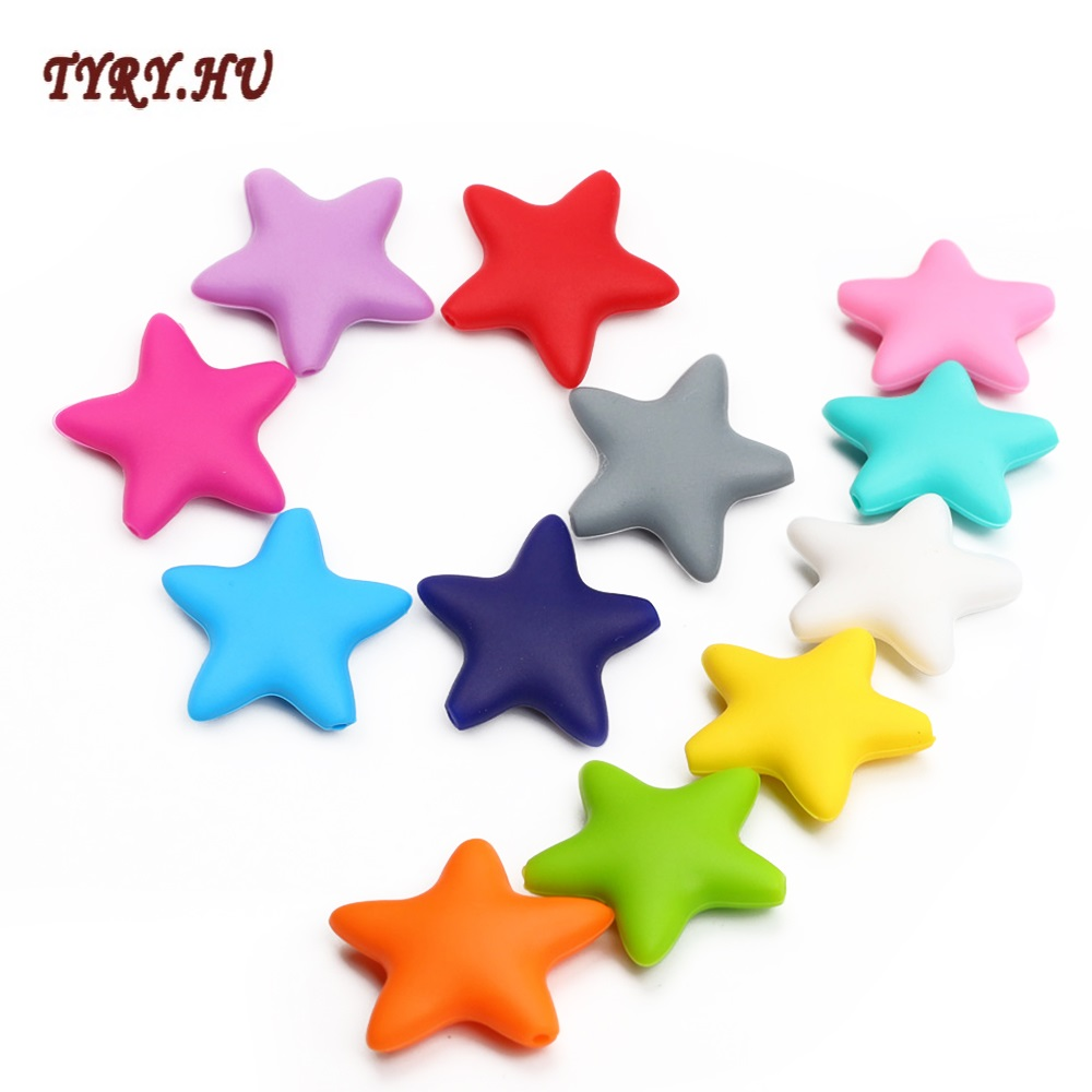 TYRY.HU 10 pieces Star Silicone Beads Baby Teething Loose Beads teether Food Grade Teether Beads Baby DIY Pacifier Chain tyry hu 200pcs 12mm silicone letter beads food grade teething nursing loose silicone beads chewing pacifier chain teether bead