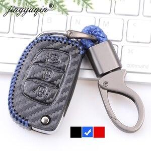 Image 1 - Carbon Leather Key Case Key Fob Cover Keychain For Hyundai Creta Tucson Elantra Santa Fe ix25 ix35 i20 i30 HB20 Verna Mistra