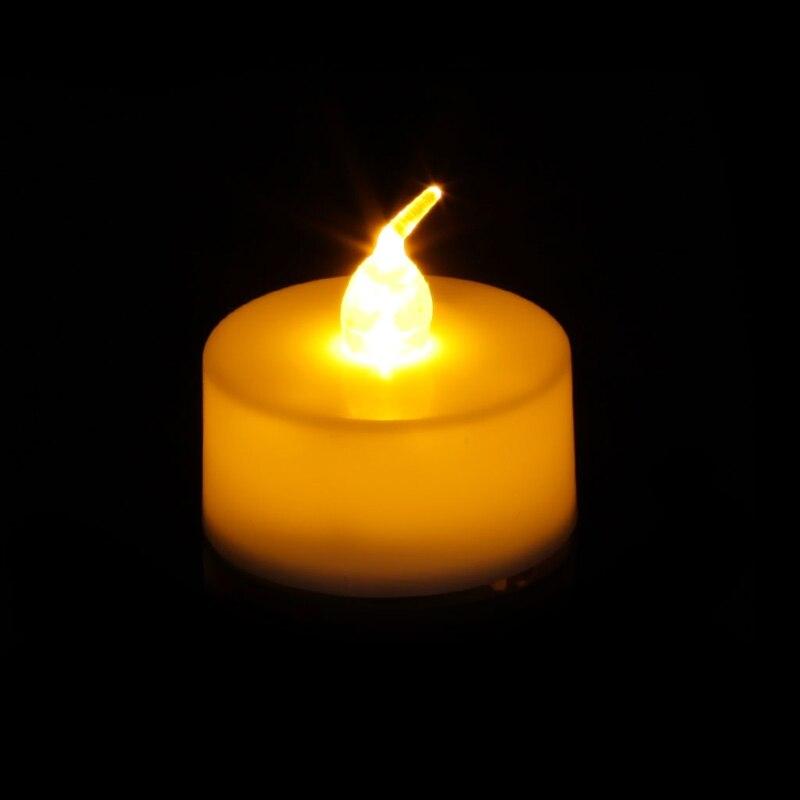 Электронный Чай желтые лампы в форме свечи беспламенные электронный светодиодный Мерцающая свеча Чай светильник Ночной светильник домашний декор