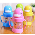 Hot 270ml Cute Duck Baby Cup Kids Children Learn Feeding Drinking Water Straw Handle Bottle mamadeira Sippy Training Cup