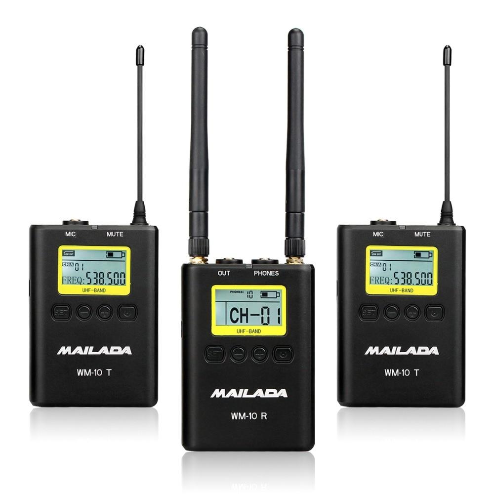 MAILADA WM10 50 каналов Профессиональный UHF Беспроводной микрофон Системы для DSLR видеокамеры Регистраторы Mic приемник + передатчик F4531A