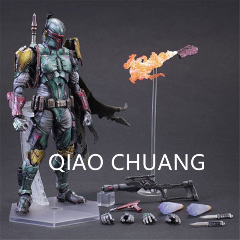 цена на Star Wars PlayArts Bounty Hunter BOBA FETT Gods Of War Kratos PVC Action Figure Model Toy G1466