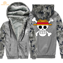 Anime One Piece Monkey D Luffy Skull Print Fashion Zipper Mens Hoodies 2019 Winter Warm Fleece Sweatshirts Men Harajuku Jacket