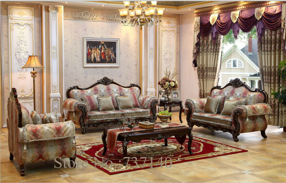 Customized furniture solid wood carving antique leather for Vintage style living room furniture