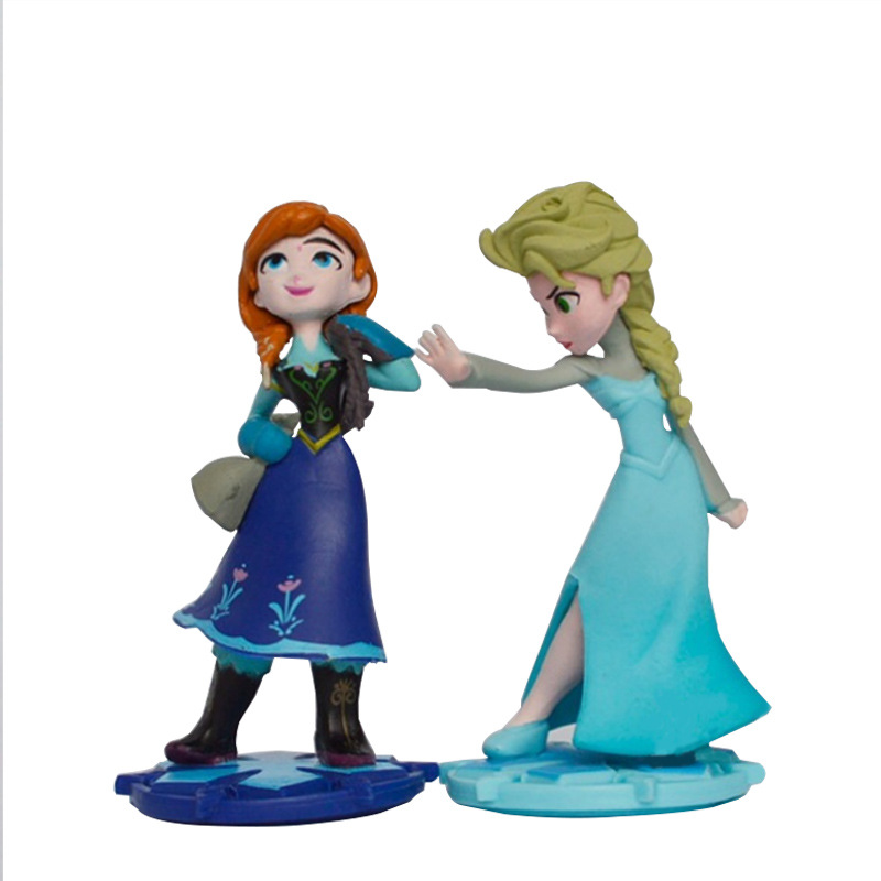 2Pcs/Set Elsa Anna Princess Doll Anime Plastic Action Figures Toys Figures Collection Ice And Snow Country Hand Puppet Kids Toy