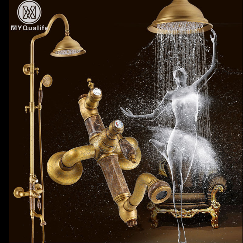 2018 New Shower Faucet Set Antique Brass and Jade Bath Shower Kit with Hand Shower Swivel Spout Rainfall 8