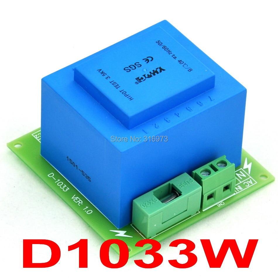 Primary 230VAC, Secondary 2x 12VAC, 20VA Power Transformer Module,D-1033/W,AC12V