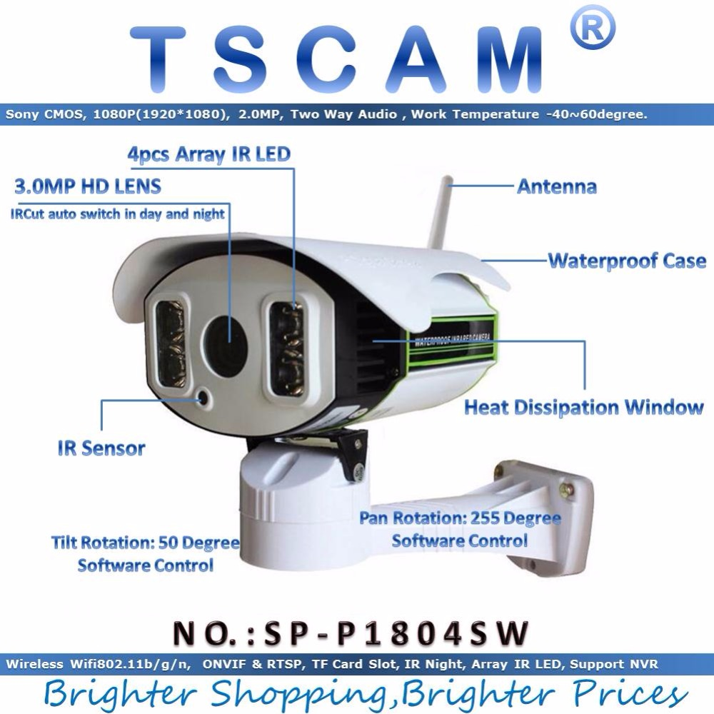 TSCAM new SP P1804SW Full HD 1080P 2 0MP ONVIF IP Camera Wireless Pan Tilt Rotation