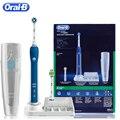 Oral B Ультразвуковая электрическая зубная щетка перезаряжаемая отбеливание зубов PRO4000 3D умная зубная щетка 2 Сменные зубные головки