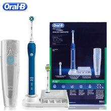 Oral B cepillo de dientes eléctrico ultrasónico, recargable, PRO4000 3D blanqueador dental, 2 cabezales de repuesto