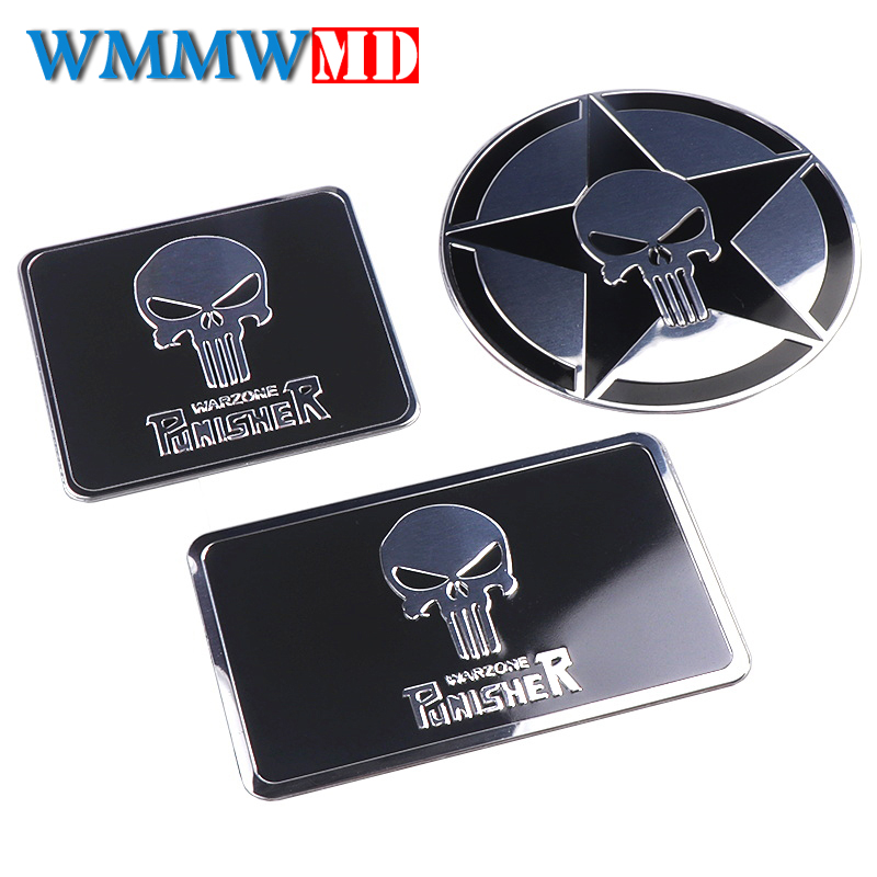 Car Styling Aluminum THE Punisher Skull Body Emblem Car Motorcycle 3D Sticker Auto Skeleton Rear Badge Stickers Decals Black