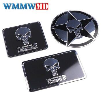 цена на Car styling Aluminum THE Punisher skull Body Emblem Car Motorcycle 3D sticker Auto Skeleton Rear Badge Stickers Decals black