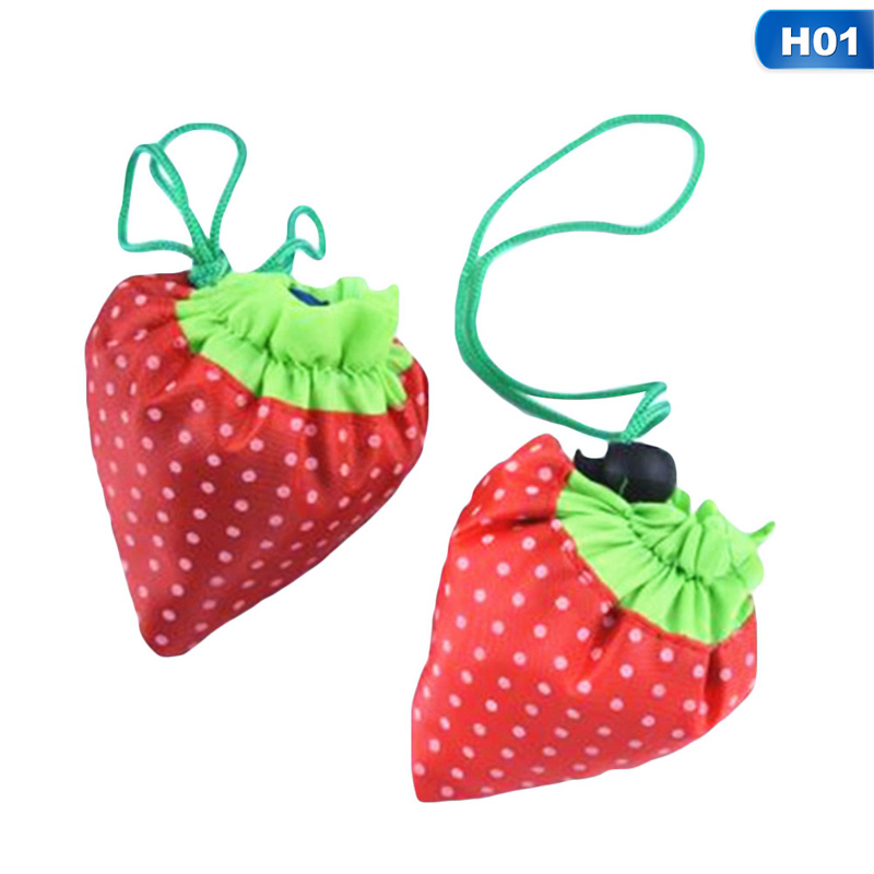Hot Sale Storage Handbag Strawberry Foldable Shopping Bags Reusable Folding Grocery Nylon Large Bag 12 Colors etya women reusable shopping bag printing unisex foldable cotton drawstring grocery shopping bags hot sale case pouch