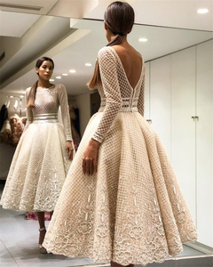 Image 3 - Scoop Long Sleeve Tea Length Lace Puffy Prom Dresses Champagne Lace See Through Evening Dress with Applique Lace