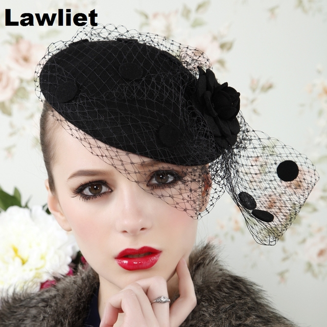A043 Black  Womens Vintage Fascinator Wool Hair Pillbox Hat Rose Veil Cocktail Party Wedding
