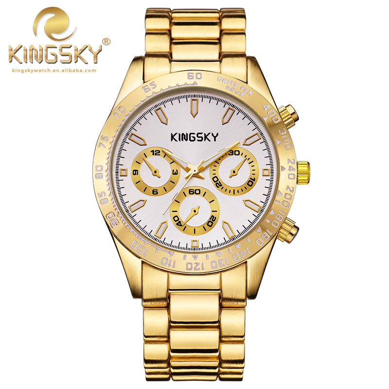 Famous Brand KINGSKY Gold Watches Fashion Analog Quartz Watch For Women Alloy Ladies Dress Wristwatches 2017 New 2016 new hot sale brand magic star black white analog quartz bracelet watch wristwatches for women girls men lovers op001