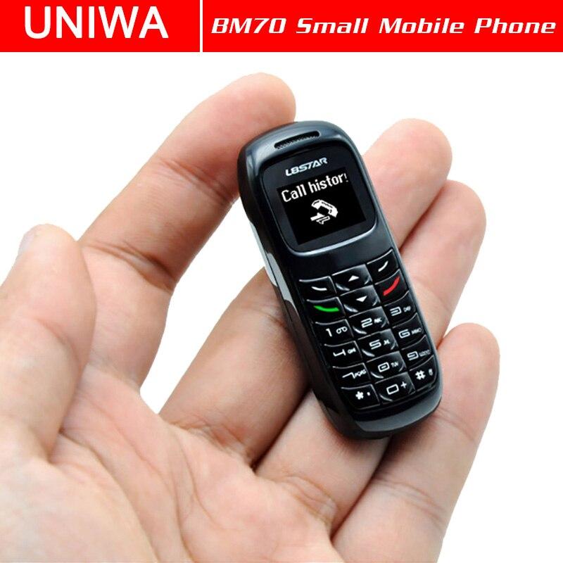 UNIWA L8STAR BM70 Mini teléfono móvil Bluetooth inalámbrico auricular estéreo GSM desbloqueado teléfono Super Delgado GSM pequeño teléfono