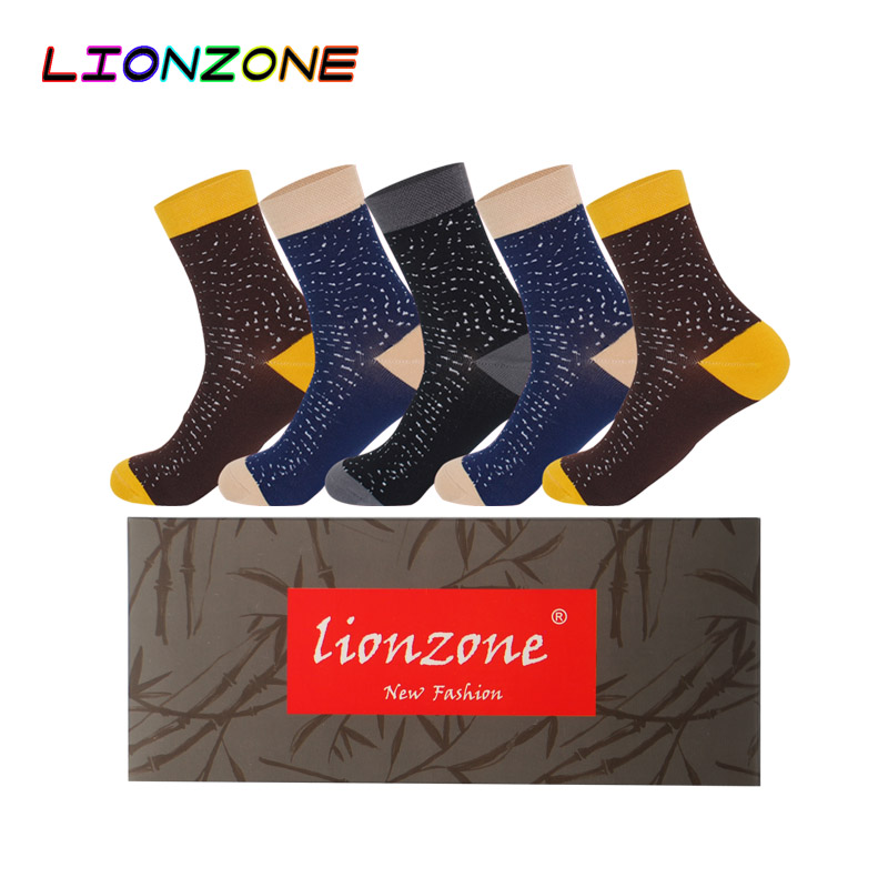 LIONZONE 5Pairs/Lot Men Winter Socks Gift Box Bamboo Warm Breathable Fashion Joker Leisure Daily Socks China Mail Free Shipping