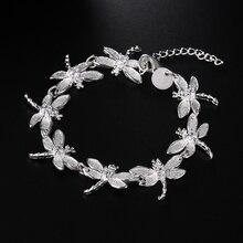Серебряный браслет Стрекоза модный для женщин и девушек прекрасный серебряный браслет, Рождественский подарок на день Святого Валентина JSHH121