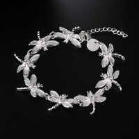 silver dragonfly bracelet fashion For women girl lovely silver color Bracelet , Christmas gift Valentine's day JSHH121