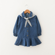 Child Denim Dress 2019 Spring Navy Collar Kids Infant Baby Dresses For Girls fashion Cute Korean Princess Pageant School Clothes