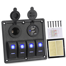 цена на 12v 24v 4 Gang On-Off Toggle Switch Car Control Panel With Dual USB Charger For Car Marine Boat Switches 5Pin 12V 20A / 24V 10A