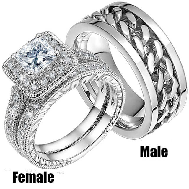 White Gold Color Cz Zircon Finger Ring Set Wedding Bands Stainless Steel Rotate Couples Gift For Women And Men Jewelry