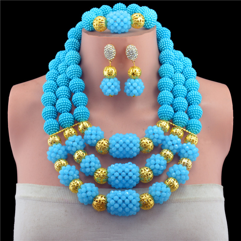 2017 New Nigerian Wedding Jewelry Sets Indian Bride Accessories Gold-color Ball Choker Necklace African Beads Jewelry Sets red color african beads jewelry sets two layer beads indian jewelry sets luxury statement choker necklace fashion jewellery