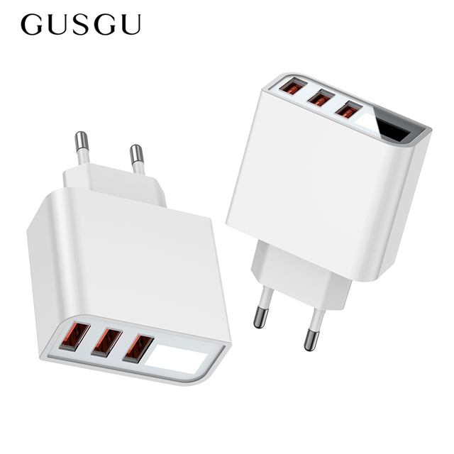 3.4A/5V USB Charger LED EU Adapter 3 Port Phone Charger USB Charging For iPhone/Samsung/Xiaomi Original Wall Travel Fast Charger