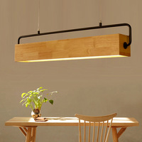 Modern Wood Pendant Light Nordic Long Bar Suspended Wooden Lamp Study Restaurant Dining Room Office Droplight Lighting Fixture
