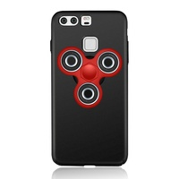 For Huawei P9 EDC Tri Fidget Spinner Toy Matte PC Phone Casing Black Red Spinner Black