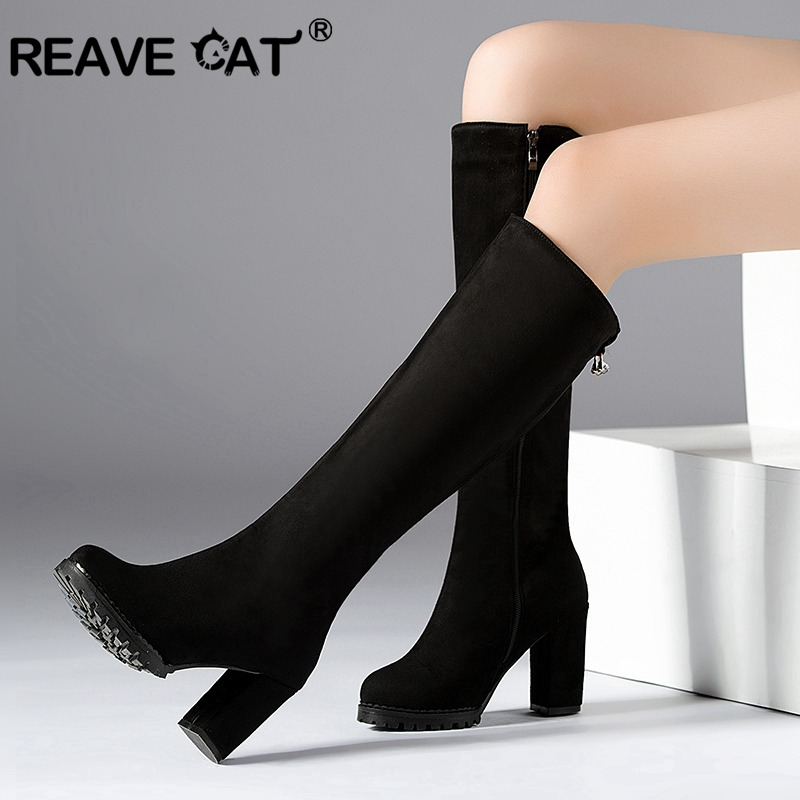 REAVE CAT 2019 Women s Winter Knee boots Block Chunky Thick heels Flock Leather Botas Knee
