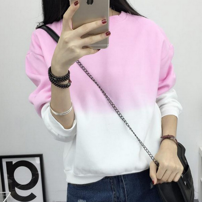 Fashion Long Sleeve Sweatshirts Slim Autumn Moletom Round Neck Gradual Change Printing  M-XXL Loose Women Sweatshirt